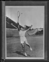 Helen Jacobs, tennis champion, on a tennis court, 1928-1939