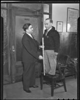 Sheriff Eugene Biscailuz receives a visit from constable Verne Johnson from Minnesota, Los Angeles, 1935