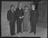 General Ting-Hsiu Tu, Dr. Rufus B. von Kleinsmid, Dr. Yamato Ichihashi and Dr. Herbert H. Gowen an Institute of World Affairs meeting at the First Methodist Episcopal Church, Pasadena, 1935