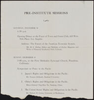 Program for the Pre-Institute Sessions of the Institute of World Affairs meeting, 1935