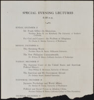 Program for the Special Evening Lectures of the Institute of World Affairs meeting, 1935