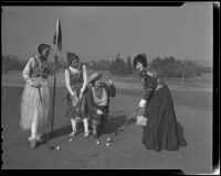 Mmes. Frank Daugherty, J. H. Vandiver, Georgia Briere and E. H. Veblen in hi-jinks attire at the Brentwood Country Club, Los Angeles, 1935