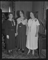 Margaret Wiget, Emma K. Strain, and Mae Myers plan for the jubilee, Los Angeles, 1935