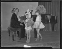Mrs. Harry A. Lowe, Diane Lewis, and Alice Gilbert perform in a Christmas play, Los Angeles, 1935