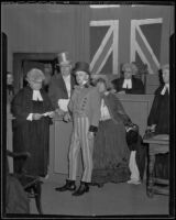 Judges' party, judges and a lawyer engaged in a skit in a courtroom, Los Angeles, 1935