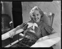 Actress Mary Blackford at home following a car accident that left her partially paralyzed, Beverly Hills, 1935
