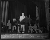 Scott M. Loftin, past president of the American Bar Association, speaking at their annual convention, Los Angeles, 1935