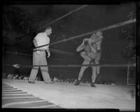 "Wrestling match between Ernie ""Dirty"" Dusek and Vincent López, Olympic Auditorium, Los Angeles, 1935"
