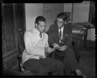 David Mohr, student, and Max A. Erb, cameraman, during an investigation of David Graham Fischer, Los Angeles, 1935