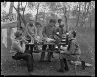 Boy Scouts share a meal at a camping event in a park, circa 1935