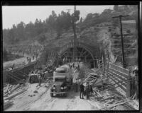 Southernmost of the four Figueroa Street Tunnels under construction, Los Angeles, 1936