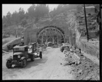 Southernmost of the four Figueroa Street Tunnels under construction, Los Angeles, 1935