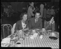 Actress Louise Brien and Dr. M. J. Hermes at the Del Mar Club, Santa Monica, 1935
