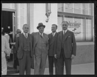 Dwight L. Clarke, A. H. Giannini, Warner Edmonds and A. P. Giannini, Santa Barbara, 1935