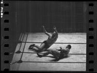 "Wrestling match between Joseph ""Jumping Joe"" Savoldi and Mayes McLain, Olympic Auditorium, Los Angeles, 1935"