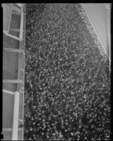 Spectators in the grandstand at Santa Anita Park the month it opened, Arcadia, 1934