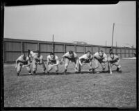 Bruins varsity line charges at Spaulding Field at U.C.L.A., Los Angeles, 1932