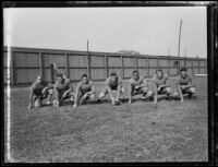 Bruins football players lined up at Spaulding Field at U.C.L.A., Los Angeles, 1932