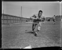 Bruins football player running at Spaulding Field at U.C.L.A., Los Angeles, 1932