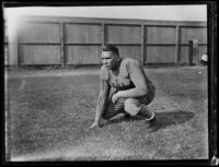 Bruins football player at Spaulding Field at U.C.L.A., Los Angeles, 1932