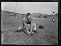 Bruins football player Homer Oliver at Spaulding Field at U.C.L.A., Los Angeles, 1932