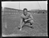 Bruins football player Verdi Boyer at Spaulding Field at U.C.L.A., Los Angeles, 1932