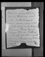 Letter purportedly written by William F. Gettle during his five-day kidnapping ordeal, 1934