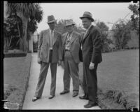 Three unidentified men at the home of kidnapping victim William F. Gettle, Beverly Hills, 1934