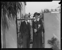 Unidentified man and woman at the residence of William F. Gettle, kidnapping victim, Beverly Hills, 1934
