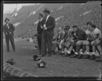 Stub Allison, assistant coach of the Golden Bears, watches during a match with the USC Trojans at the Coliseum, Los Angeles, 1934