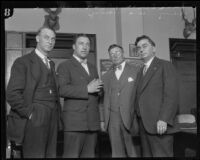 Frank Dewar, Buck Lieuallen, and Eugene Biscailuz during the Hickman kidnapping and murder trial, Los Angeles, 1927-1928