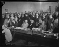 Courtroom filled with men and women attending the arraignment of William Edward Hickman, confessed kidnapper and murderer, Los Angeles, 1927
