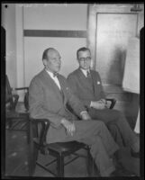 Prince Eric of Denmark seated with Ryan Grunt, Vice-Consul of Denmark, Hickman kidnapping and murder trial spectators, Los Angeles, 1928