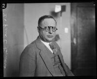 Dr. Paul E. Bowers, expert witness for the proscecution during the Hickman kidnapping and murder trial, Los Angeles, 1928