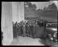 Rosslyn Hotel bus shuttling jury members from the Hall of Justice during the Hickman trial, 1928