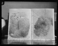 Thirteen-point fingerprint comparison purported to belong to William Edward Hickman, Los Angeles, 1927 or 28