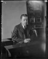 Alfred Hickman, brother of William Edward Hickman, on the witness stand during his brother's trial, Los Angeles, 1928