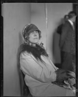 Ethel Broderick, Bellevue Arms apartment manager, photographed during the Hickman kidnap and murder trial, Los Angeles, 1928
