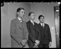 Hale Sparks, Sam Burnham and Solomon Laykin, witnesses for the prosecution in the Hickman kidnapping and murder trial, Los Angeles, 1928