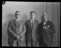 Welby Hunt, who robbed and murdered of C. Ivy Toms, with George L. Hunt and A. Gray Gilmer, Los Angeles, 1928