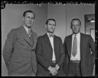 Carroll Hakes, M. K. Wadley and Walter Price, prosecution witnesses in the Hickman kidnapping and murder trial, Los Angeles, 1928