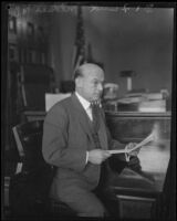 Dr. Frank M. Mikels, psychiatristing for the prosecution in the Hickman kidnap and murder trial, Los Angeles, 1928