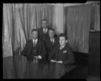 Kidnapper William Edward Hickman, with Frank Dewar, Roy Bogle and Claude Peters, Los Angeles, 1927-1928