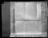Ransom note sent to Perry M. Parker, father of kidnap victim Marion Parker, from William Edward Hickman, Los Angeles, 1927