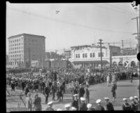 Naval crowd gathered for a visit from Herbert Hoover in San Pedro, Los Angeles, circa 1929-1934