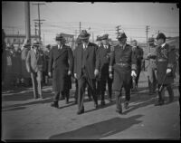 Herbery Hoover with a Naval admiral, other officers and civilians in San Pedro (probably), Los Angeles, circa 1929-1934
