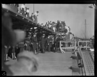 Herbert Hoover with a Navy admiral on a dock in San Pedro (probably), Los Angeles, circa 1929-1934