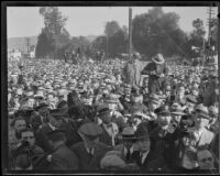 Crowd assembled to hear President Herbert Hoover, Los Angeles, circa 1929-1933