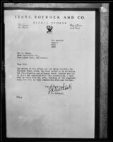 Letter from F. R. Outhank, of Sears, Roebuck and Co. regarding prizes for the Upton Sinclair for Governor Rodeo event, 1934