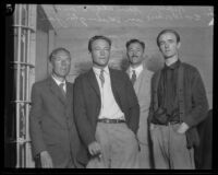 Upton Sinclair, Hunter Kimbrough, Pryns Hopkins and Hugh Hardyman in jail for starting a public gathering against police orders, Wilmington, 1923